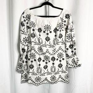 New endless rose white black boho blouse S